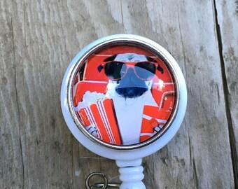 Pug retractable badge reel,Medical badge,RN badge,gift,Animal Brooch lanyard,Cute winter badge reel,ID Holder,Medical jewelry