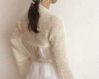 Bridal Cover Up, Wedding Shrug, Pearl Bridal Bolero, Bridal Shrug, Wedding Bolero, Shrugs Boleros, Knit Shrug,  Knit Bolero