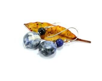 Sodalite Earrings, Sterling Silver Earrings, Silver Earrings, Dangle Earrings, Bohemian Earrings, Blue Earrings, Silver, Boho Earrings
