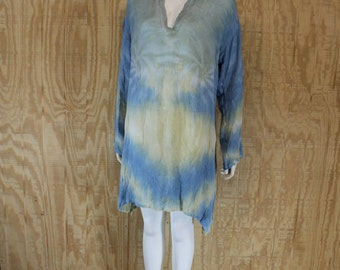 Vintage 1990's HENNA Crinkle Rayon Tie Dye Blue / Yellow Bell Sleeve Kurti Tunic Shirt Dress One Size