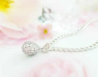 Bridal Bracelet, CZ Pave Teardrop, Crystal Teardrop Bracelet, Bridesmaid Bracelet, Silver CZ Pave Drop, Gift for Bride, Anniversary, B2000