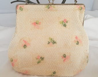 Vintage 1930 Art Deco White Beaded Purse  with beaded pink flowers, beaded handle, Wedding, Evening  Bag or Tea Party Purse