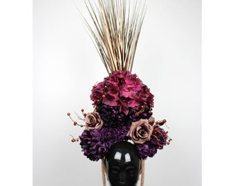 One of a kind floral headdress ** Bespoke flower headpiece ** autumn queen crown ** purple ** copper **  faerie ** fantasy
