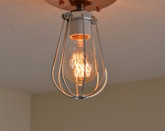 Handmade Ceiling Fixture, Copper Light, Cage Lighting, Handcrafted Light  Fixture
