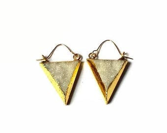 Druzy gold earrings, triangle, gold earrings,  druzy earrings, Boho earrings, gold hoop earrings, triangle earrings