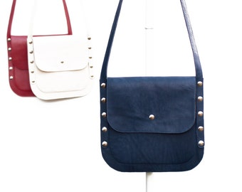 Blue leather cross body purse convenient when you want to have only the essentials; Gift for her