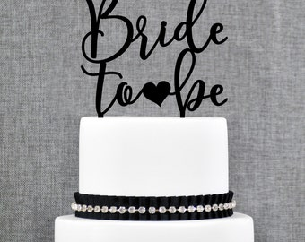 Bride to Be Cake Topper, Bridal Shower Cake Topper, Bachelorette Party Decorations, From Miss to Mrs, Calligraphy Cake Topper (T369)