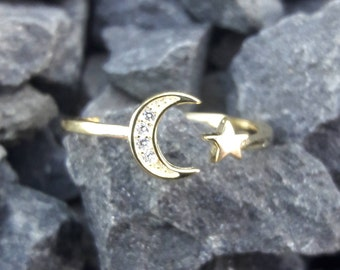 Gold Moon and Star Ring CZ Accents FREE Gift Box FREE & Fast Shipping Codes Gypsy Boho Jewelry I Love You To The Moon And Back Fast Shipping