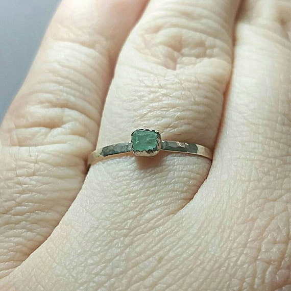Raw Aquamarine Stacking Ring | Sterling Silver Ring Sz 10.5 | Raw Blue Aquamarine Ring | Raw Stone Ring | Raw Stone Stackable Ring