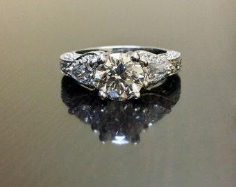 14K White Gold Art Deco Diamond Engagement Ring - 14K Gold Diamond Wedding Ring - Diamond Art Deco Ring - 14K Gold Three Stone Diamond Ring