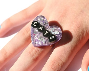 Cat Lover Ring I Love Cats Cute Big Heart Glitter Resin Ring Gift for Someone That Loves Cats