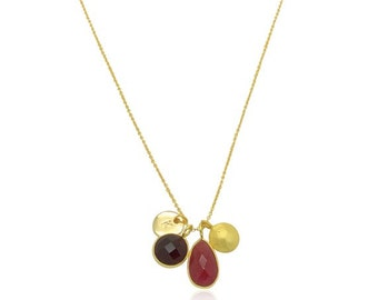 Red Onyx and 18K Gold Necklace, Dark Burgundy Chalcedony Gemstone Necklace, Gold and Gemstone Necklace, Gifts for Mom, Mothers Day Gifts