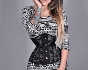 New mesh sheer underbust steel boned basic waist training black corset cincher