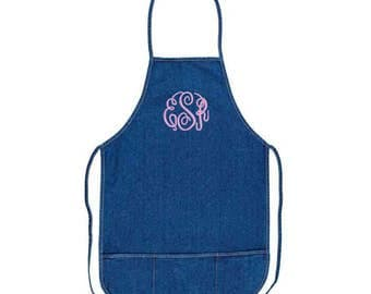 Denim Adult Apron with Pockets and Embroidery Personalization
