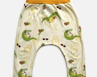Grow with me pants crocodile, coconut, sunglasses, surf, waves, beach, harem, 0-12M, 6M-3Y, 3Y-6Y, babies, toddlers, kids, biological cotton