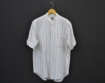 Lanvin Vintage Shirt Vintage Lanvin Paris Stripe Shirt Made in Japan Mens Size L