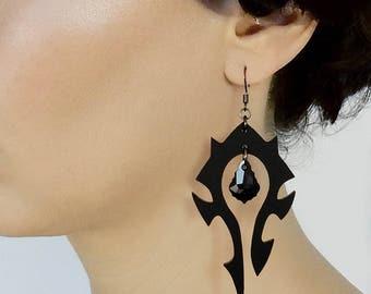 World of Warcraft earrings, Large Horde earrings, Black earrings, WoW earrings, Gamer jewelry, World of Warcraft jewelry, Swarovski crystal