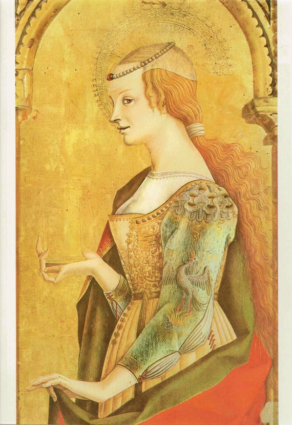Vintage print of Mary Magdalene, painted by Carlo Crivelli in 15th century, beautiful details, matted & mounted for framing, 11 x 14 inches