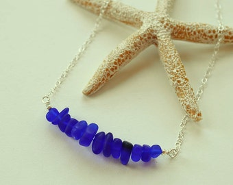 Cobalt blue sea glass necklace sea glass jewelry ocean necklace dark blue necklace sterling silver seaglass beach jewelry Christmas gift