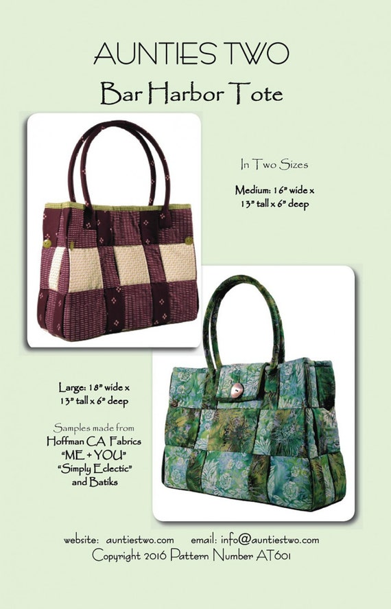 items similar to bar harbor tote bag pattern by aunties two patterns at601 two sizes med and. Black Bedroom Furniture Sets. Home Design Ideas