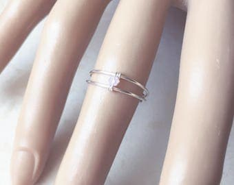 Sterling Silver Ring, Promise Ring, Pink Ring, Statment Ring, Bridesmaids, Statement Ring, Engagement Ring, Wedding, Midi Ring, Gift For Her