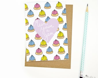 Cute Mothers Day Card ∙ Sweet Card ∙ Card for Her ∙ Mom Card ∙ Mum Card ∙ Biscuit Card ∙ Mum, You're a Gem