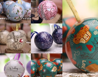 20 pcs Small Bauble Tins - Mini Christmas Balls Boxes, Containers - Chocolate Candy Gift Packaging - Wedding Party Baby Shower Favors