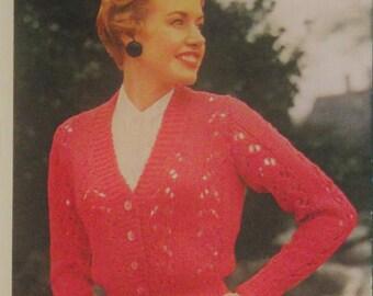 Kitting Pattern, 50s ladies Cardigan