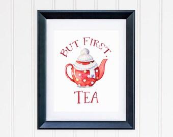 But First Tea Printable Winter Teapot Print Christmas Teapot Print Tea Quote Wall Art Tea Decor Kitchen Decor Tea Wall Art Watercolor Teapot