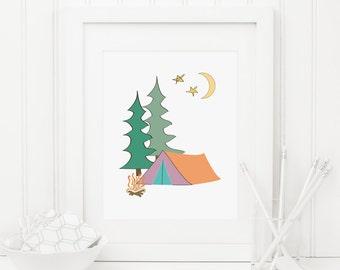 Nursery Campsite Printable Nursery Camping Decor Adventure Wall Art Camping Wall Art Woodland Decor Tent Pine Trees Campfire Wanderlust Art