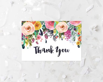 Floral Thank You Card Printable Thank You Note Card Wedding Thank You Card Shower Thank You Card Flat Card Birthday Thank You Notes 216