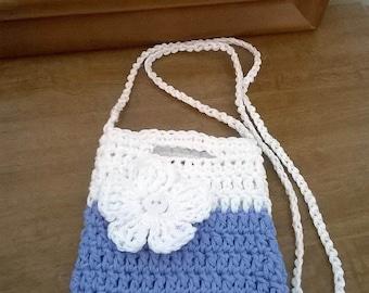 Crochet Girls Purse, Girls Crochet Bag, Flower Girl Purse, Periwinkle Blue  Purse, Toddler Cross body Purse, Girls Blue Crossbody Purse