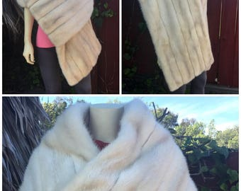 "Extraordinary 77"" Huge Length Rectangular Mink Fur Pure Ivory White Jasmine Pearl Shade Stole Shawl Cape Bridal Opera Wedding nerz 貂皮-ミンク"