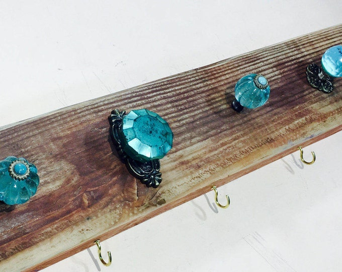 Wall coat rack /wooden entryway organizer /rustic farmhouse mudroom storage reclaimed wood art aqua 8 gold hooks 7 teal blue glass knobs