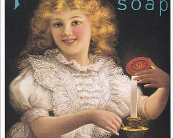 vintage Pears Soap advert ad advertisement 1902 victorian girl with candle home decor print 8.5 x 11.5 inches