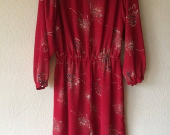Sheer 70's Red Long Sleeve Dress
