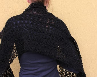 Knitted Shawl - Wrap - Scarf - Black - Handmade - Hand-knitted in Lithuania - Gift for her - Mother's Day Gift