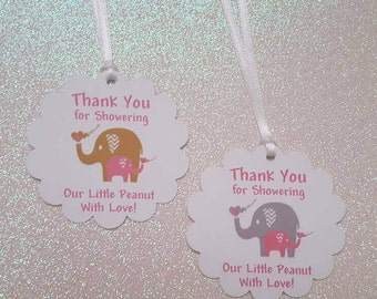 Thank You for Showering Our Little Peanut With Love Favor Tags *Baby Elephant *Baby Shower Favor Tags *Pink / Gold *Pink / Gray *w/Ribbon