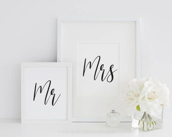 Mr and Mrs Print, Wedding Gift, Anniversary Gift, Bedroom Decor, His and Her Print, Bedroom Wall Art, Engagement Gift, Gift For Couple