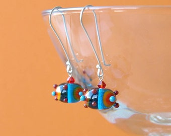 crazy earrings, vibrant earrings, chic circus earrings, CIRCUS, handmade sterling silver earwires