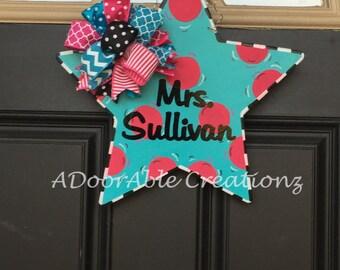 Star Door Hanger,Teacher Door Hanger,Teacher Door Hanger,Teacher Christmas Gift,Teacher Appreaciation Gift, Classroom Decor,Gift for Teacher