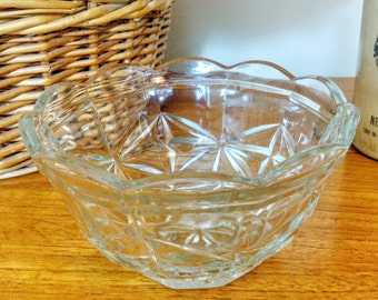 Vintage 1940s  Clear Faceted Pressed Glass Sugar Bowl Dish