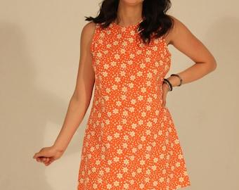 60s Orange Dress Mod Dress Floral Mod Dress Daisy Dress Floral Dress Summer Dress 90s Dress Sleeveless Dress Bright Orange Dress Keyhole