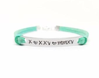 Personalized Roman Numeral Bracelet | Hand Stamped Heart Bracelet | Custom Date Bracelet | Birthday Bracelet | Anniversary Bracelet