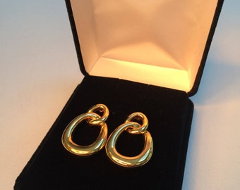 """Chain Link Gold Earrings, 1980""""s Jewelry, Cluster Earrings, Vintage Jewelry, Pierced Earrings"""