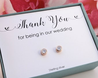 Thank you for being in our wedding Bridesmaids gifts Rose Gold on Sterling silver earrings 4mm CZ studs Bridal party gifts thank you gift
