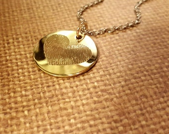 LARGE heart shaped FINGERPRINT Necklace- 14K GOLD filled precious charm EnGRAVED