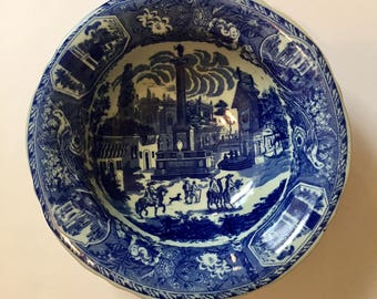 Large Victoria Ware Ironstone Bowl, Ironstone Blue Town Scene Bowl, Large Blue and White Bowl, Blue Flow Fruit Bowl, Water Basin