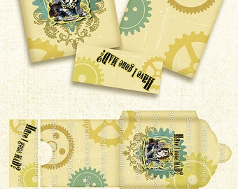Alice in Wonderland/Mad Hatter/printable Tea Bag Envelope / Digital Collage Sheet / INSTANT DOWNLOAD/ DIY