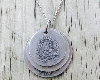 Actual Fingerprint Necklace - Fingerprint Pendant - Fingerprint Jewelry - Thumbprint Pendant - Mothers Day Gift - Custom Print Necklace